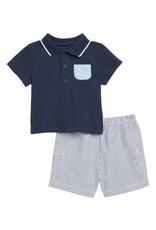 Little Me Blue Sailing Short Set