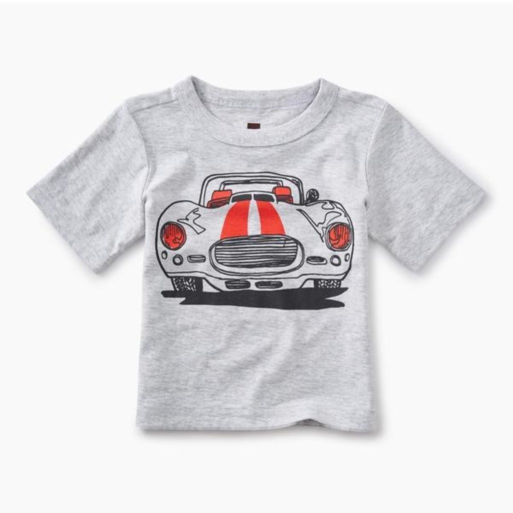 Tea Collection Muscle Car Graphic Baby Tee LIGHT GREY HEATHER