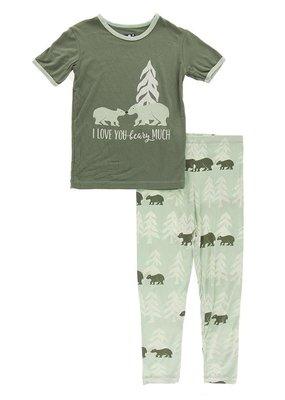 Short Sleeve Piece Print Pajama Set