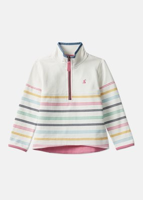 Little Joule Cream Multi Stripe Half Zip Fairdale
