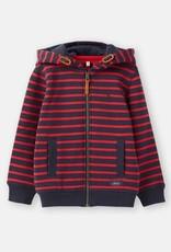 Little Joule Navy Red Stripe Zip Through Hoody