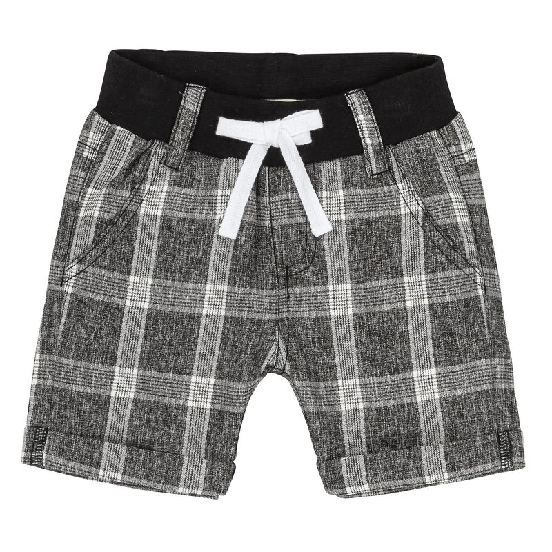 Deux Par Deux Black Plaid Bermuda Shorts