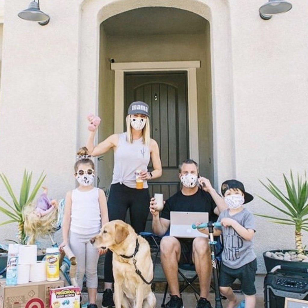 Pink Peony Kids Adult Grey Denim Mask