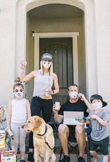 Pink Peony Kids Adult Black Denim Mask