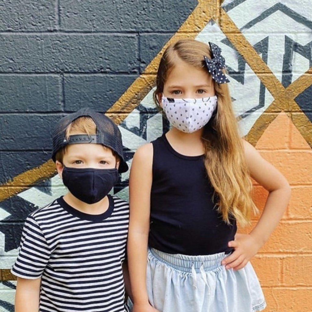Pink Peony Kids K1 Children's Black Cotton Mask