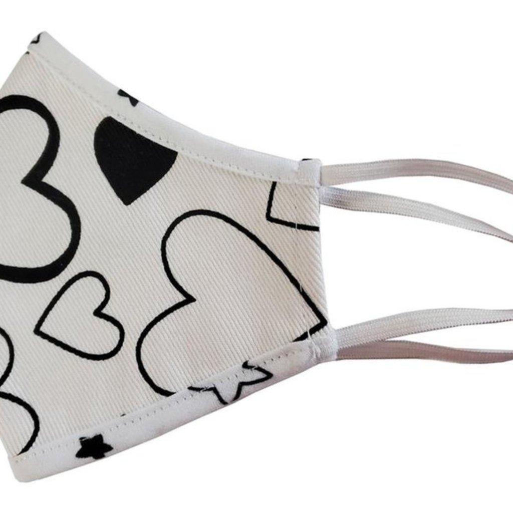 Pink Peony Kids Adult White Confetti Love Mask