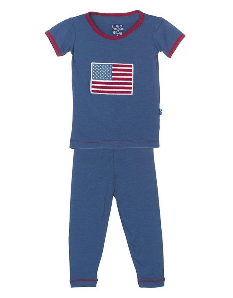 Kickee Pants Twilight American Flag PJ Set