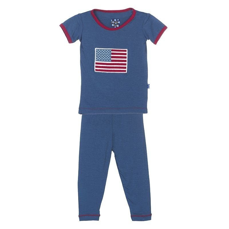 Kickee Pants Twilight American Flag PJ Set