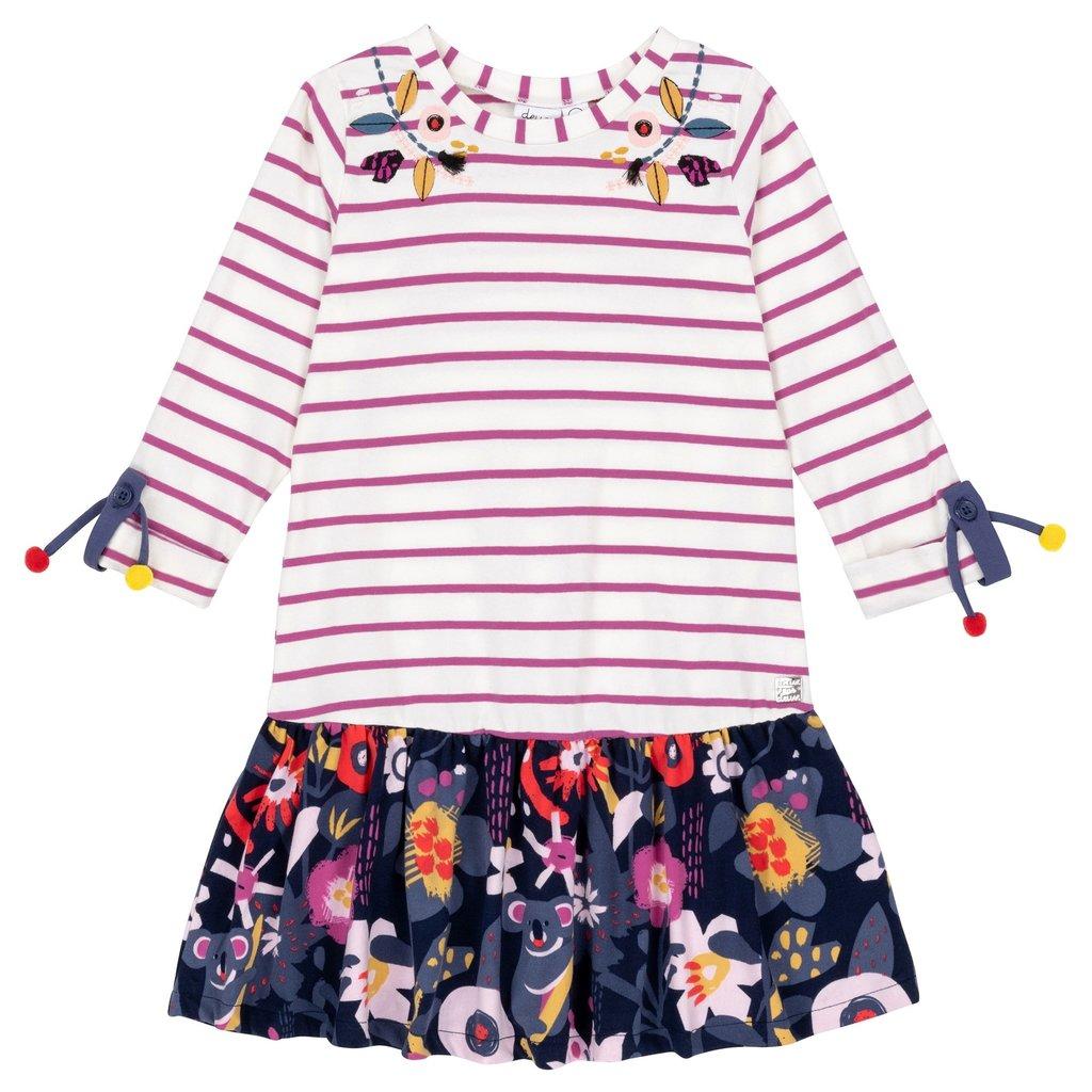 Deux Par Deux Embroidered Floral Stripe Dress