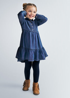 Mayoral USA Soft Denim Pleated Dress