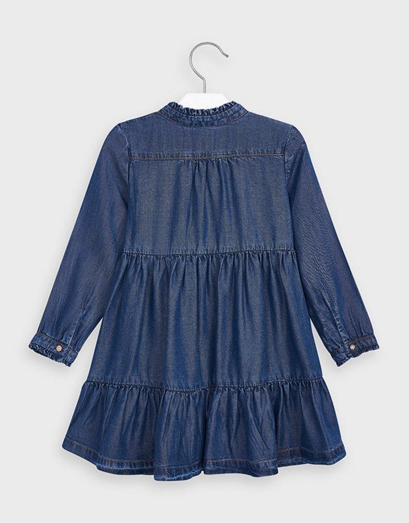 Mayoral USA Soft Denim Pleated Dress