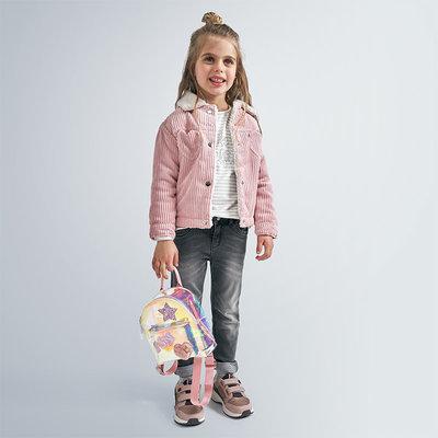 Mayoral USA Pink Heart Corduroy Fleece Jacket
