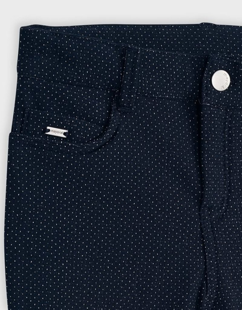 Mayoral USA Navy Lurex Dot Fleece lined pants