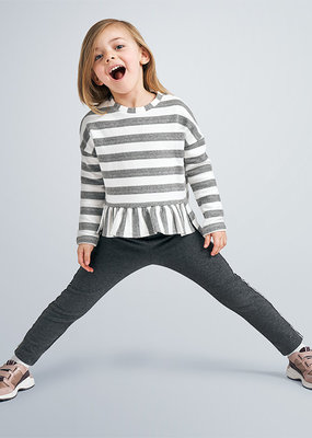Mayoral USA Gray White Stripe Flare Sweater