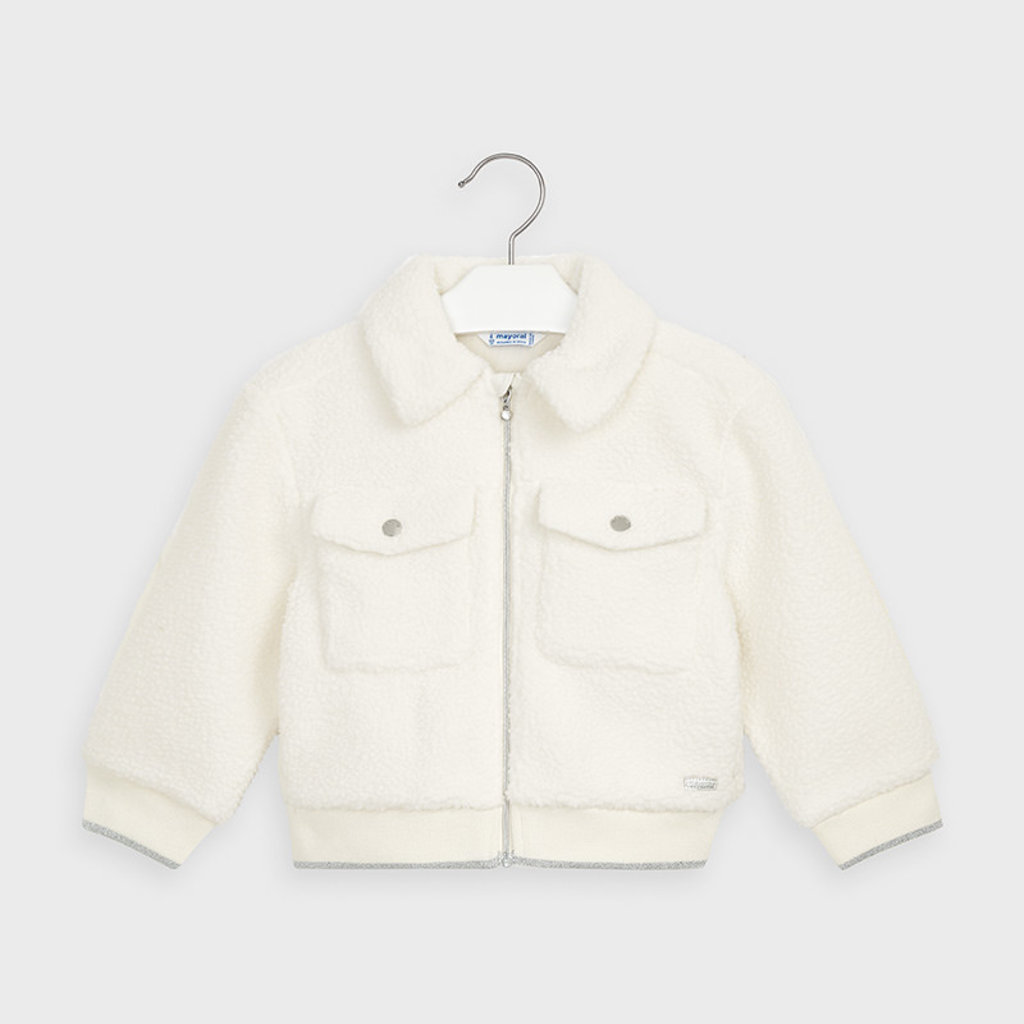 Mayoral USA Cream Fleece Bomber Jacket