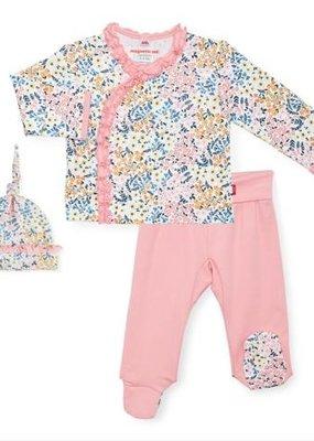 Magnificent Baby Chelsea Organic Floral 3 pc kimono set