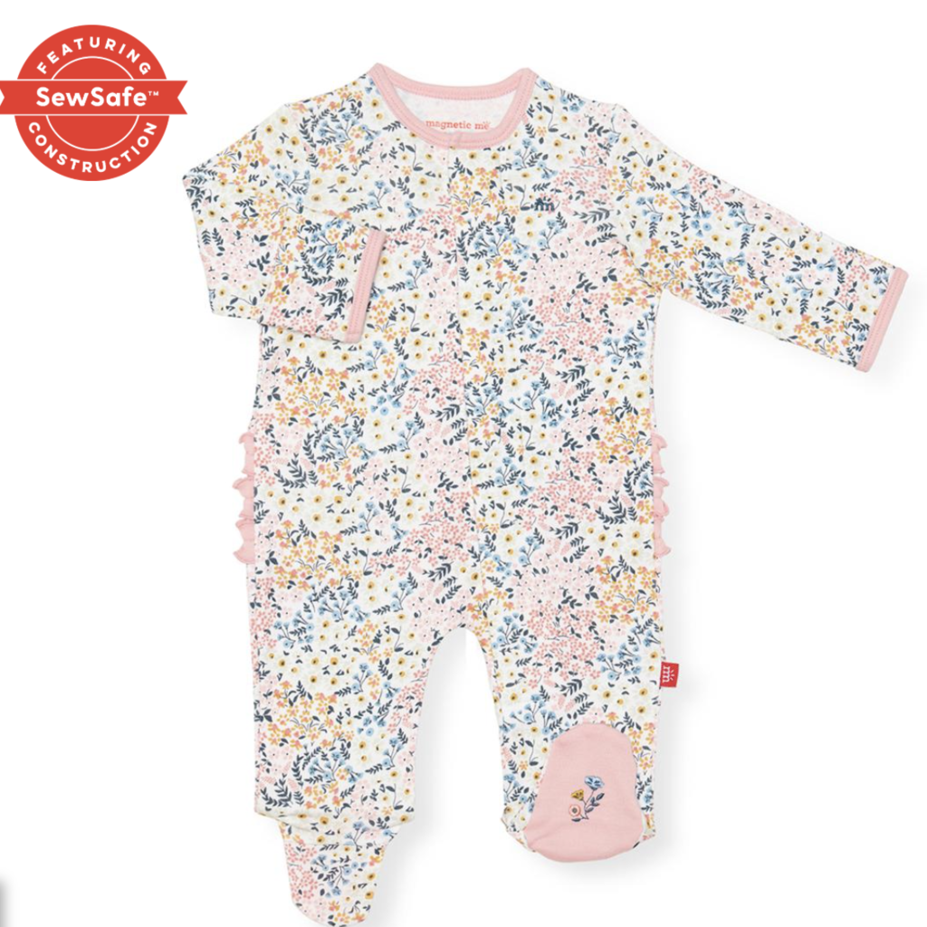 Magnificent Baby Chelsea Organic Floral Magnetic Footie