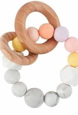 Mud Pie Yellow Silicone Wood Teether
