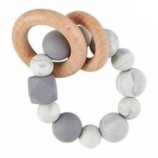 Mud Pie Grey Silicone Wood Teether