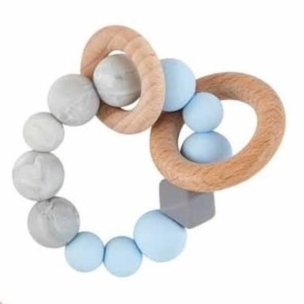 Mud Pie Blue Silicone Wood Teether