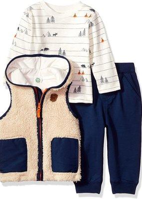 Little Me Tan 3PC Vest Set