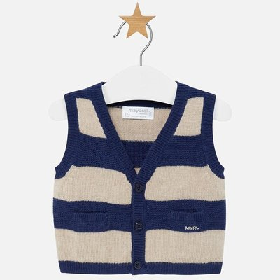 Mayoral USA Navy Striped Vest