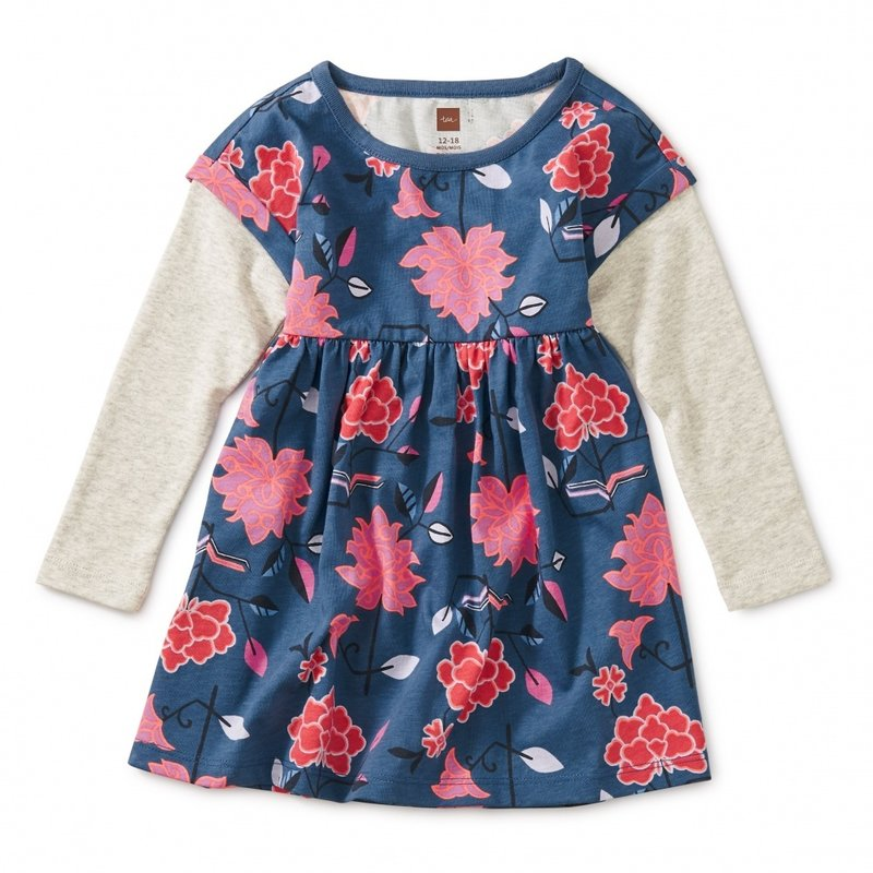 Tea Collection Printed Lyred Sleeve Bby Dress
