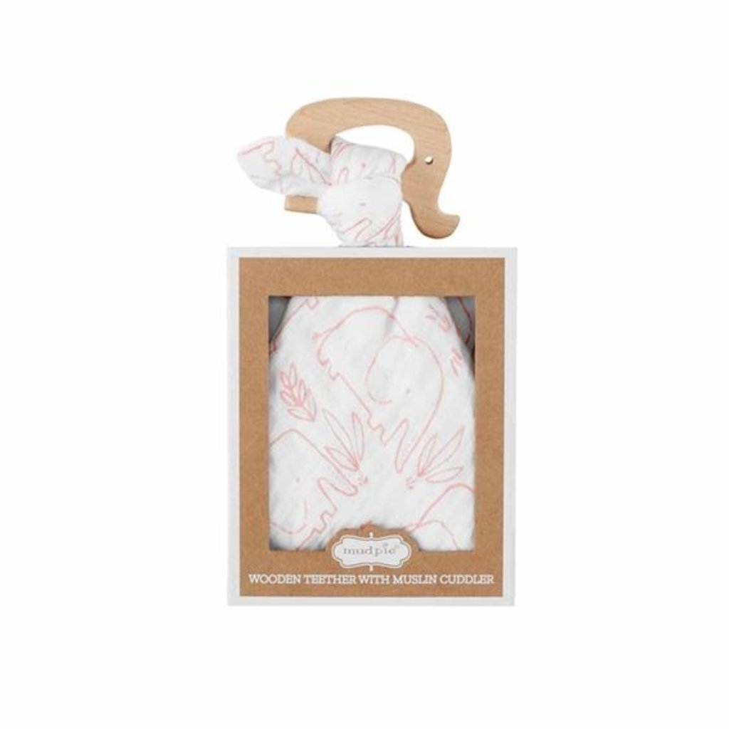 Mud Pie Pink Elephant Teether and Cuddler