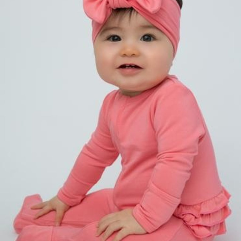 Angel Dear Solid Pink Basics Zipper Footie