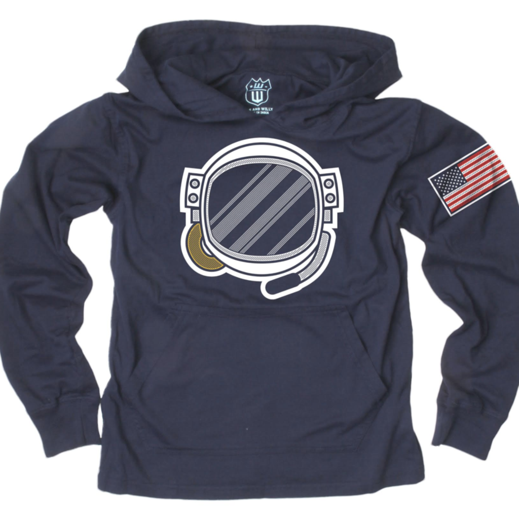 Wes and Willy Space Helmet Hoodie in Midnight