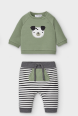 Mayoral USA Olive Puppy Stripe Pant Set