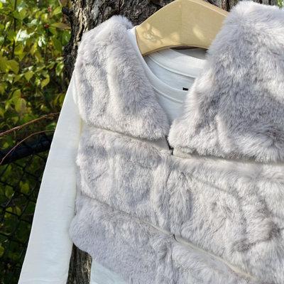 Mayoral USA Taupe Stripe Fur Vest