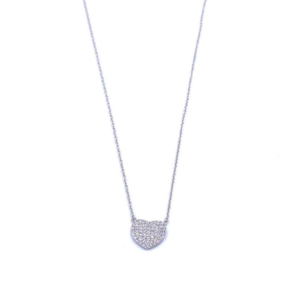 Ashley Gold Round Heart Sterling Necklace