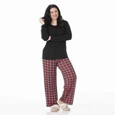 Kickee Pants Crimson Holiday Plaid Women's PJ