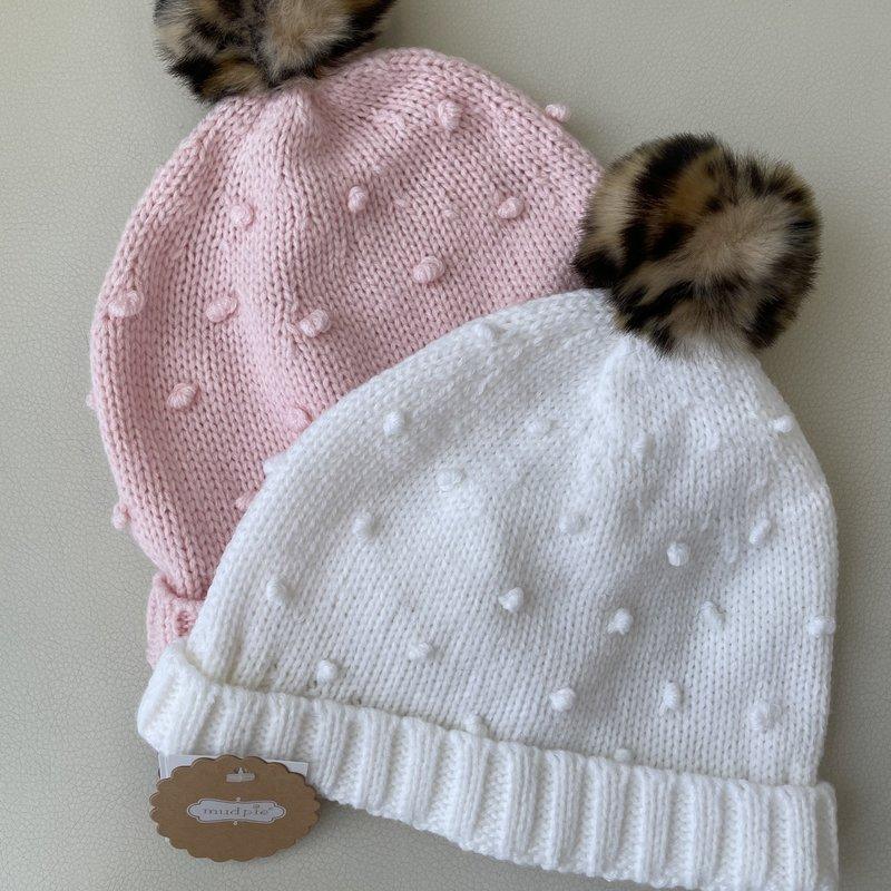 Mud Pie Pink Puff Knit Hat