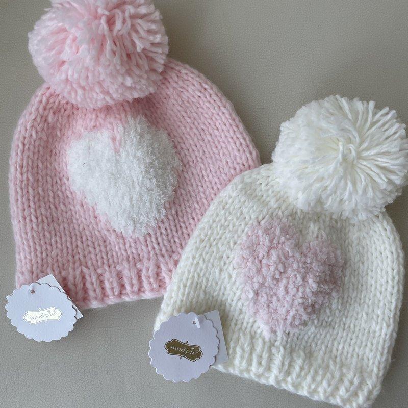 Mud Pie Pink Heart Knit Hat 2T-5T