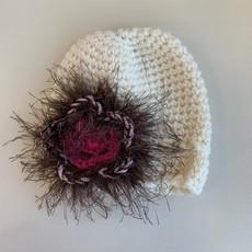 Flower Barrette Cream Hat  3-6m