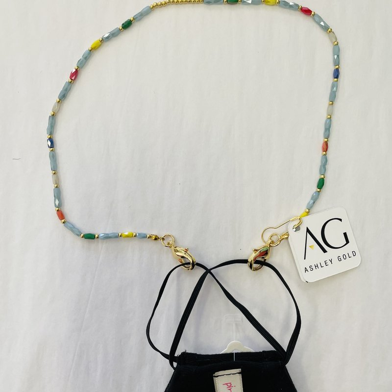 Ashley Gold Colored crystal and gold ball Children's Mask Chain