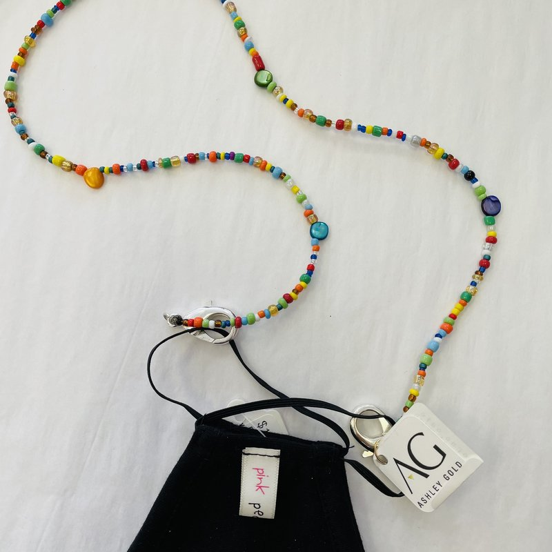 Ashley Gold Multi Color Bead Stone Children's Mask Chain