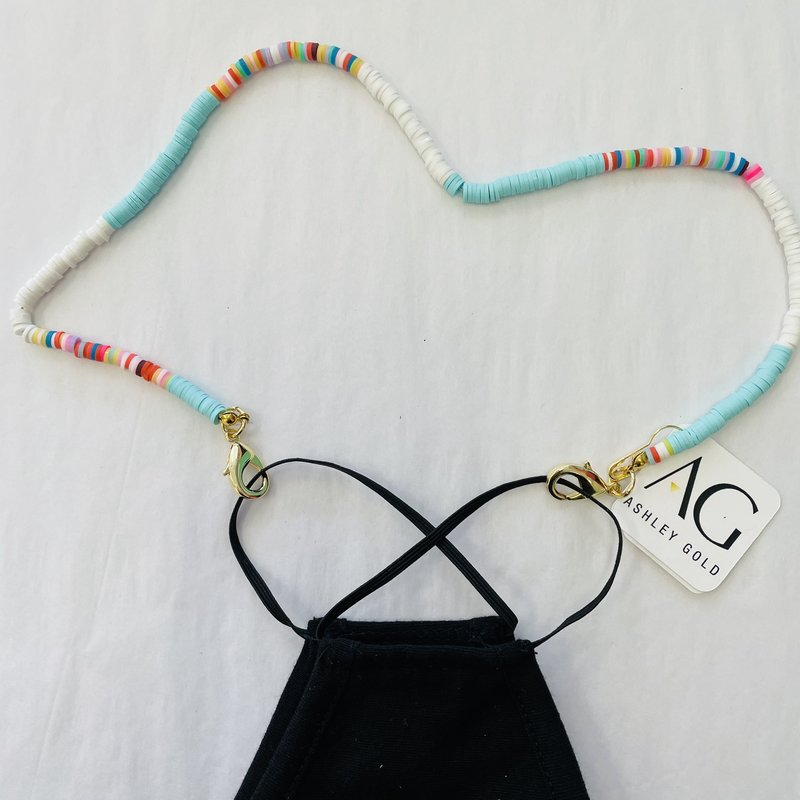 Ashley Gold Turquoise and Colors Bead Children's Mask Chain