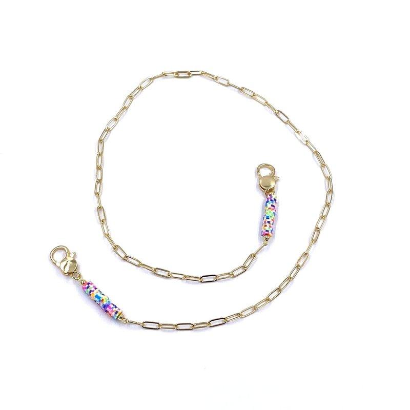 Ashley Gold Gold Chain Subtle Rainbow Bead Mask Chain