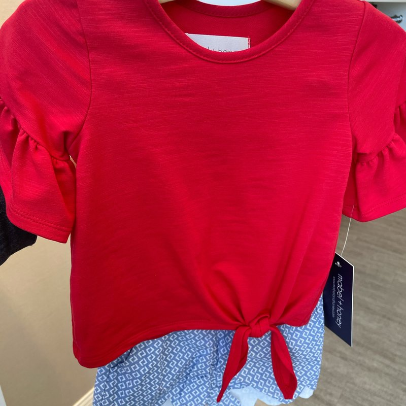 Mabel and Honey Red Top with Scalloped Short Set