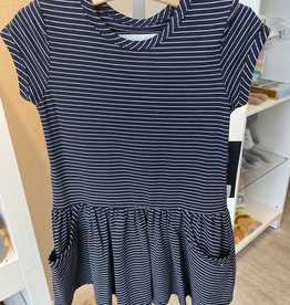 Mabel and Honey Navy White Pinstripe Pocket Dress