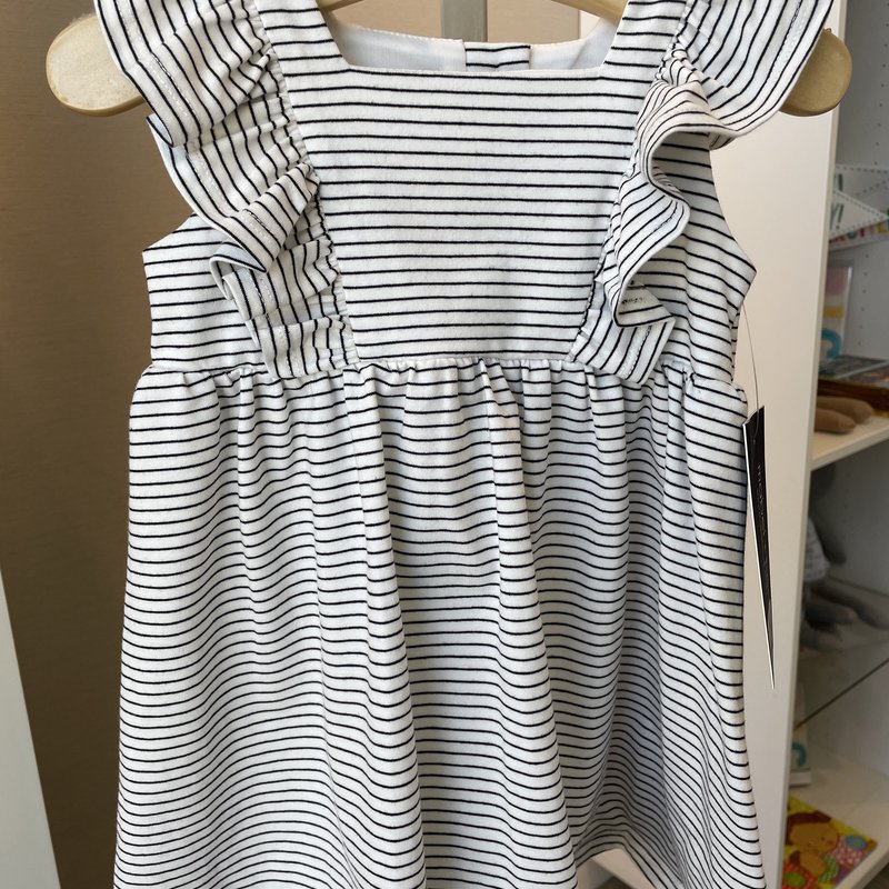 Mabel and Honey White with Black Pinstripe Ruffle Knit Dress