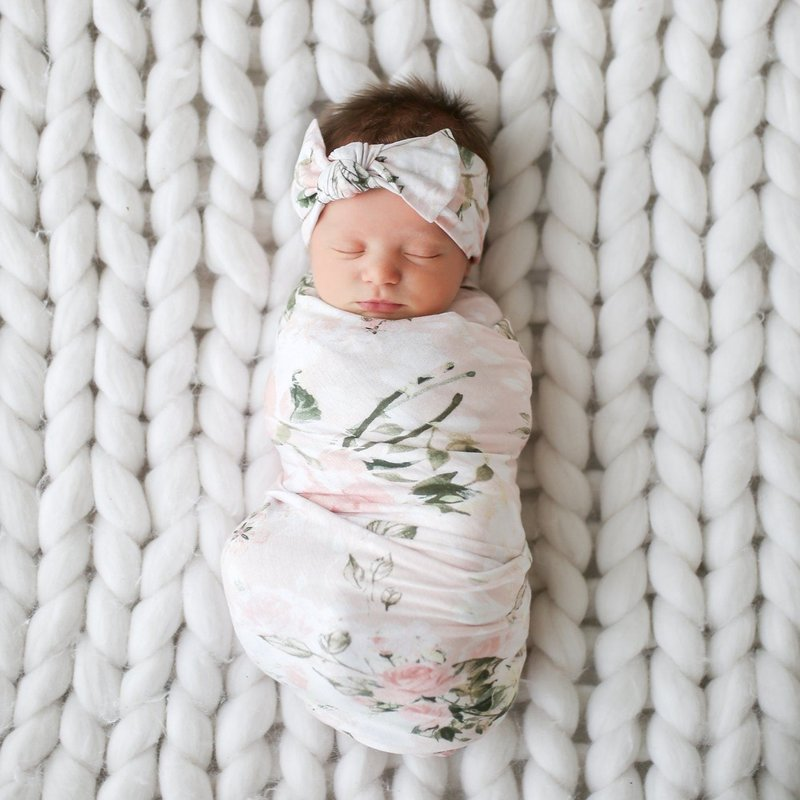 Posh Peanut Vintage Rose Swaddle and Headwrap