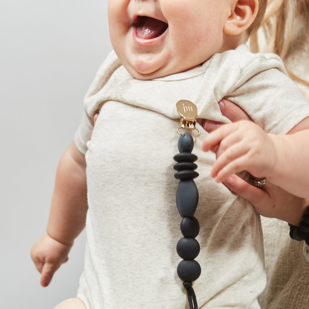 January  Moon Charcoal Pacifier Clip