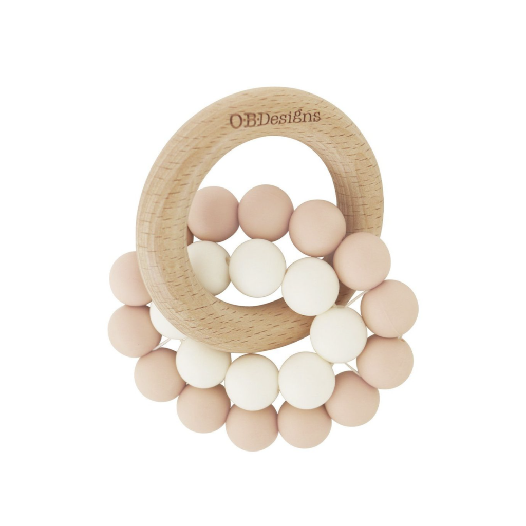 OB Designs USA LLC Blush Pink Beechwood Silicone Teether