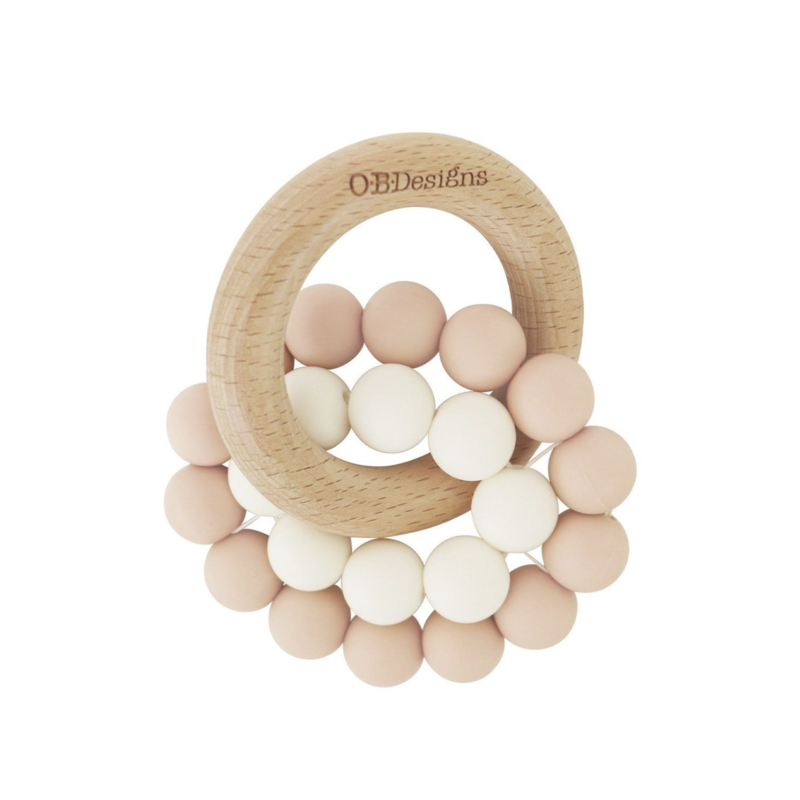 OB Designs USA LLC Blush Pink Beechwood Silicone Teether