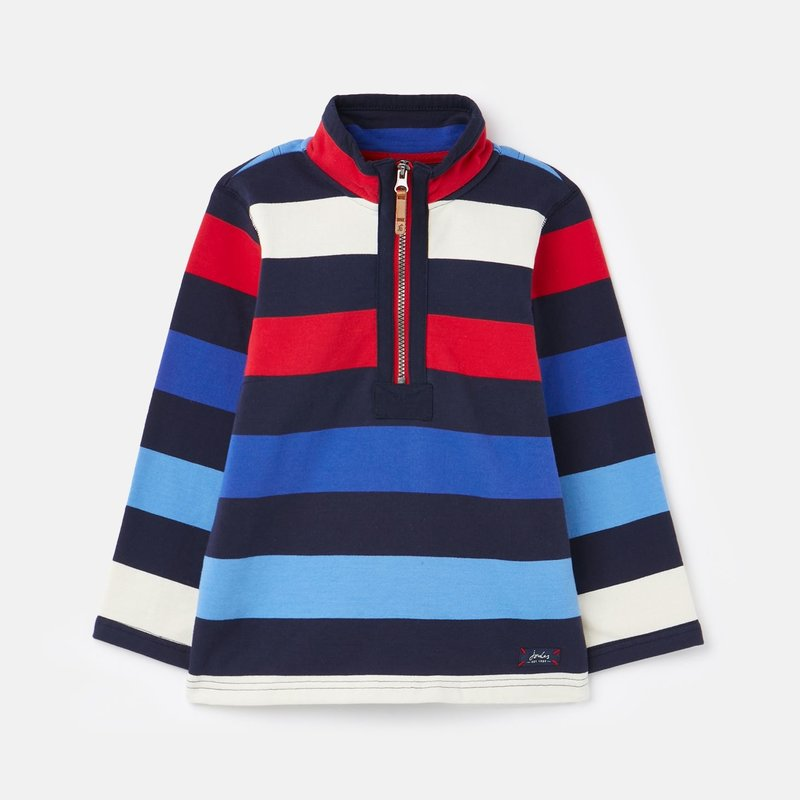 Joules Striped 1/2 Zip Pullover Red Blue Blue