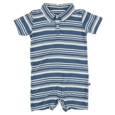Kickee Pants Fishing Stripe SS Polo Romper